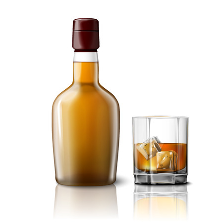 Blank realistic whiskey bottle with glass of whiskey and ice Illustration