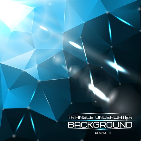 caustic: Abstract triangle underwater background with bright lights and flares. For presentations, websites etc. Vector illustration