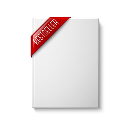 top seller: Realistic white blank hardcover book, front view with red best seller corner ribbon. Isolated on white background for design and branding. Vector illustration Illustration