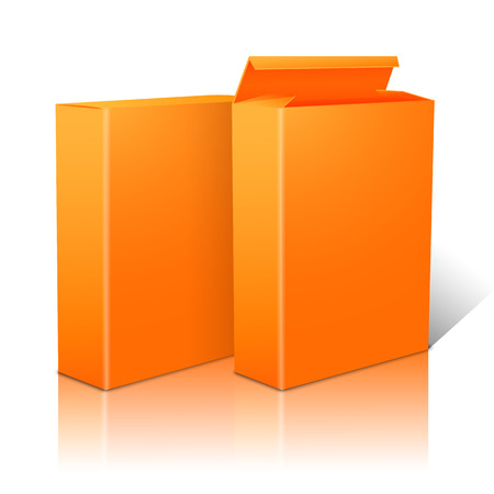 cereal box: Two realistic bright orange blank paper packages for cornflakes, muesli, cereals etc. Isolated on white background with reflection, for design and branding. Vector illustration Illustration