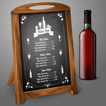 alcohol logo: Menu template on chalkboard - for wine and alcohol with realistic red wine bottle, with place for your text and design. Vector illustration Illustration