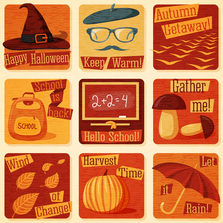 signs and symbols: Collection of cute retro stylized autumn illustrations with signs of fall, and all it symbols. Vector illustration Illustration