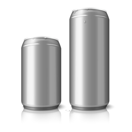 ml: Two blank aluminum beer cans isolated on white background, with place for your design and branding. Vector illustration