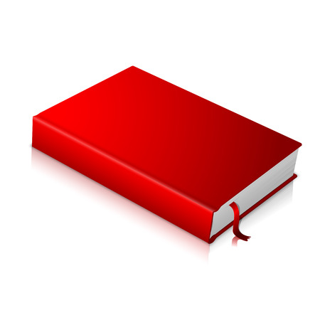 Realistic red blank hardcover book with red bookmark. Isolated on white background with soft reflection for design and branding. Vector illustration
