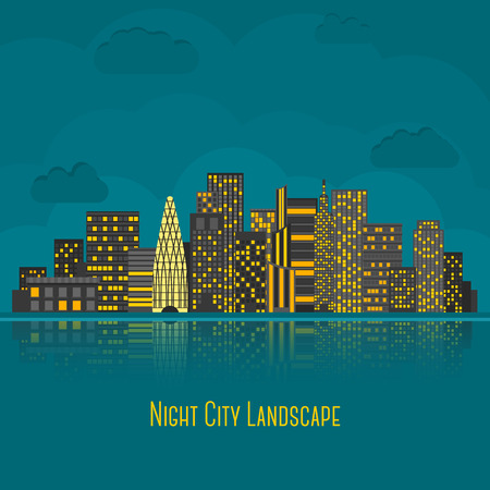 new york: Modern big city night landscape with reflection in water. Vector illustration Illustration
