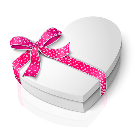 bowknot: Vector realistic blank white heart shape box with pink and white ribbon and bow-knot isolated on white background with reflection. For your valentines day or love presents design.