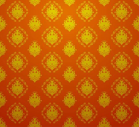 baroque wallpaper: Seamless retro vintage victorial baroque wallpaper in red and golden colors. Illustration