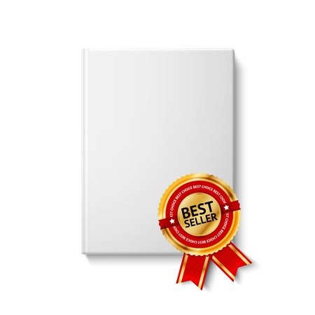 top seller: Realistic white blank hardcover book, front view with golden and red best seller label. Isolated on white background for design and branding. Vector illustration