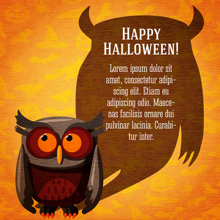 craft paper: Happy halloween cute banner or greeting card on the craft paper texture with brown owl and dark scary shadow with place for your text. On the background with witches, pumpkins, spiders, bats.