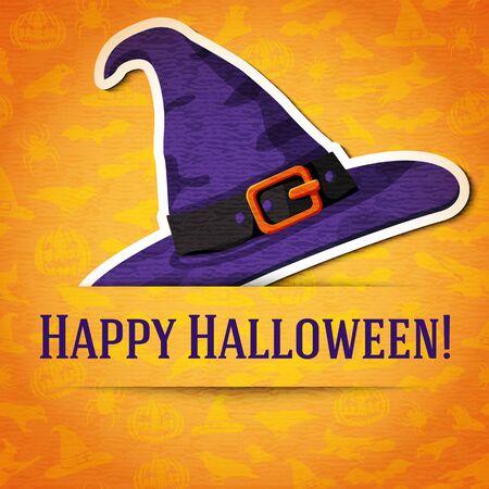 bruja: Tarjeta de felicitaci�n feliz Halloween con sombrero de bruja pegatina cort� del papel y se coloca entre la cinta y el fondo. En la textura de halloween brillante con murci�lagos, brujas, los sombreros, las ara�as, calabazas.