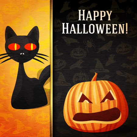 witch spider: Happy halloween banner with greetings and sample text. Curious black cat and carved bright pumpkin. On the halloween background with pumpkins, witch, spider, bats. Vector. Illustration