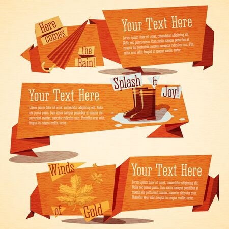 gumboots: Set of cute autumn vintage stylized banners. With ribbons and icons of gumboots, puddle,umbrella and maple leafs. Vector illustration