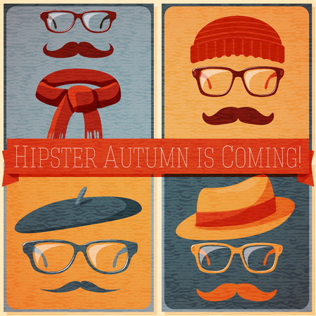 nerd glasses: Set of autumn dressed hipster faces on the grunge retro background, with text ribbon which can be changed on your text. Vector illustration