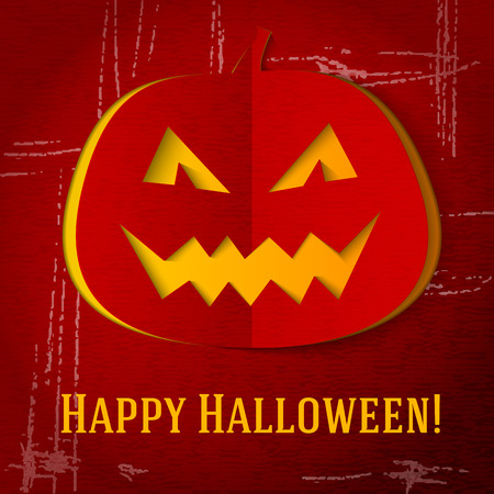 red eyes: Scary halloween pumpkin with red eyes and smile cut out from the craft paper, with grunge and scratches. With halloween greeting and place for your text. vector