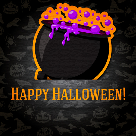 jack pot: Happy halloween greeting card with cauldron and potion sticker cut from the paper and placed between ribbon and background. On the dark texture with bats, witches, hats, spiders, pumpkins.