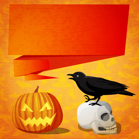 craft paper: Happy halloween cute banner- greeting card on the craft paper texture with black raven on the human skull and speech bubble for your text. With jack o lantern pumpkin near.