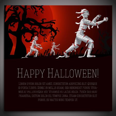 scary halloween: Big halloween banner with illustration of mummies on the red moony background and scary tree branches. Vector illustration Illustration