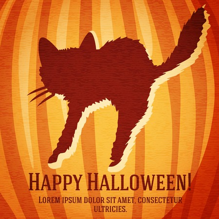startled: Happy halloween greeting card with startled cat carved in pumpkin. With happy halloween and place for your text. Illustration