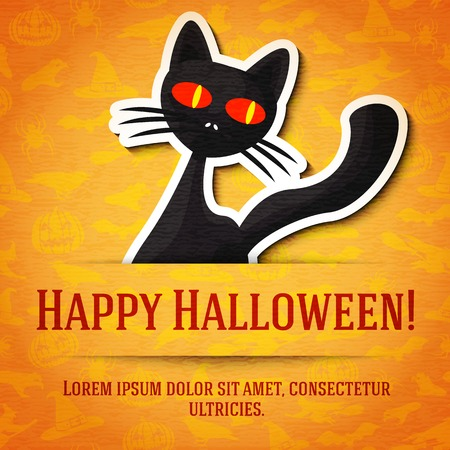 fear: Happy halloween greeting card with black cat sticker cut from the paper and placed between ribbon and background. On the bright halloween texture with bats, witches, hats, spiders, pumpkins. Illustration