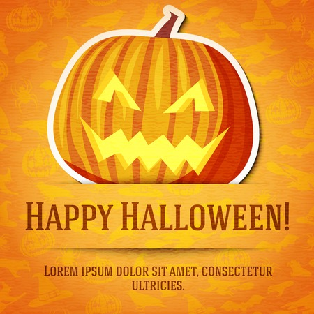 jack o' lantern: Happy halloween greeting card with bright jack-o-lantern pumpkin sticker cut from the paper and placed between ribbon and background. On bright texture with bats, witches, hats, spiders, pumpkins.