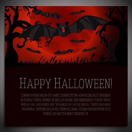 scary halloween: Big halloween banner with illustration of black scary bats on the red moony background and scary tree branches. Vector illustration