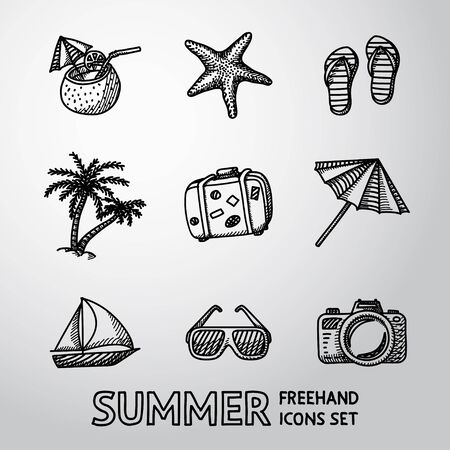 freehand: Summer holidays monochrome freehand icons set with - coconut cocktail, fish star, slippers, palms, suitcase,beach umbrella,yacht,sun glasses, photo camera. Illustration