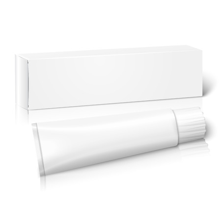 toothpaste: Realistic white blank paper package box with tube for oblong stuff - toothpaste, cosmetics, medicine etc. Isolated on white background with reflection, for design and branding. Vector illustration