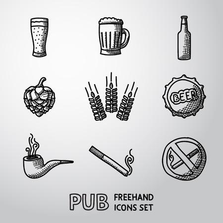 Hospoda, pivní handdrawn ikony nastavit s - skla a hrnek, láhev, hopu a pšenice, kohoutek, roury, cigarety, zákaz kouření znamení. Vector Ilustrace