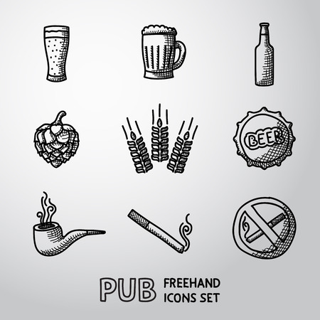 Pub, beer handdrawn icons set with - Glass and mug, bottle, hop and wheat, tap, pipe, cigarette, no smoking sign. Vector Illustration