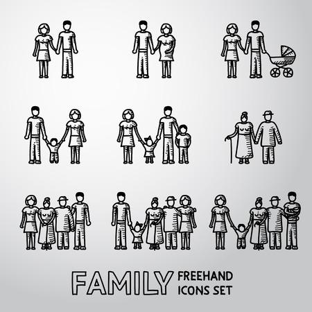 familias unidas: Multigeneracionales iconos a mano alzada familia establece con todos los miembros de las edades de la familia. Ilustración vectorial