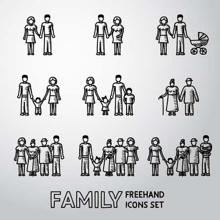 families together: Multigenerational family freehand icons set with all ages family members. Vector illustration
