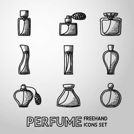 perfumer: Perfume handdrawn icons set with different shapes of bottles. vector illustration Illustration