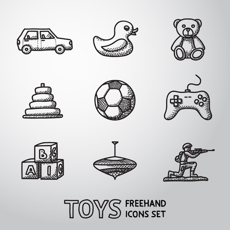 wooden doll: Toys hand drawn icons set with - car and duck, bear, pyramid, ball, game controller, blocks, whirligig, soldier. Vector illustration