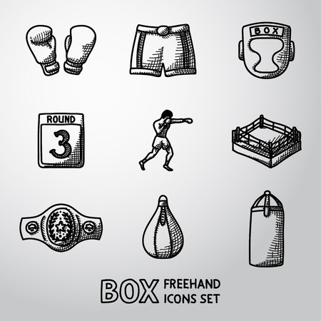 boxing ring: Set of boxing hand drawn icons - gloves and shorts, helmet, round card, boxer, ring, belt, punch bags. Vector illustration