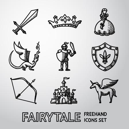 arco y flecha: Conjunto de dibujado a mano de cuento de hadas, iconos juego con - espada y el arco, el escudo y caballero, dragón, princesa, corona, unicornio, castillo. Vector Vectores