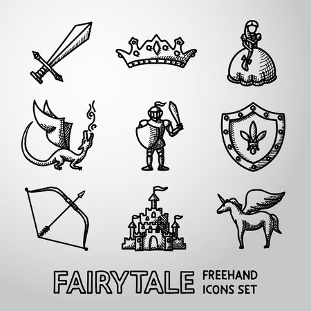 Set of hand drawn fairytale, game icons with - sword and bow, shield and knight, dragon, princess, crown, unicorn, castle. Vector