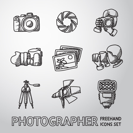 photo people: Photographer freehand icons set with - shutter, camera and photos, shooting photographers, flash, tripod, spotlight. Vector illustration Illustration