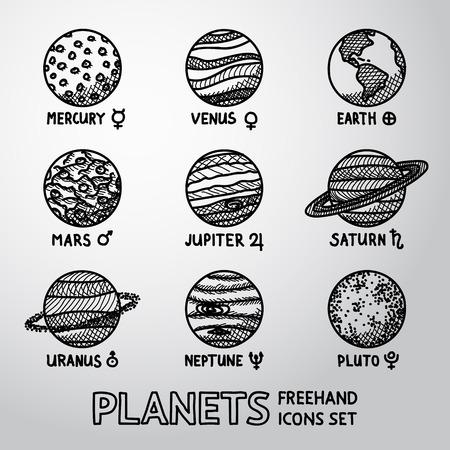 Conjunto de dibujado a mano iconos planeta con nombres y símbolos astronómicos - Mercurio, Venus, Tierra, Marte, Júpiter, Saturno, Urano, Neptuno, Plutón. Ilustración vectorial