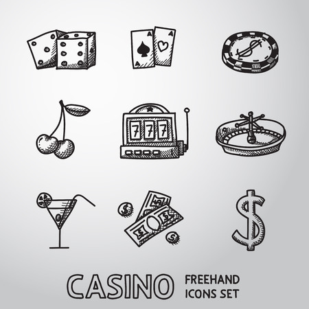 poker hand: Casino, gambling freehand icons set with - dice and poker cards, chip, cherry, slot machine, roulette, martini drink, money, dollar sign. vector