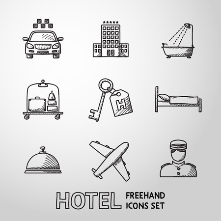 porter: Hotel and service monochrome freehand icons set with - hotel building, service bell, bed, luggage, porter, room key, taxi cab, airplane, bathroom with shower.