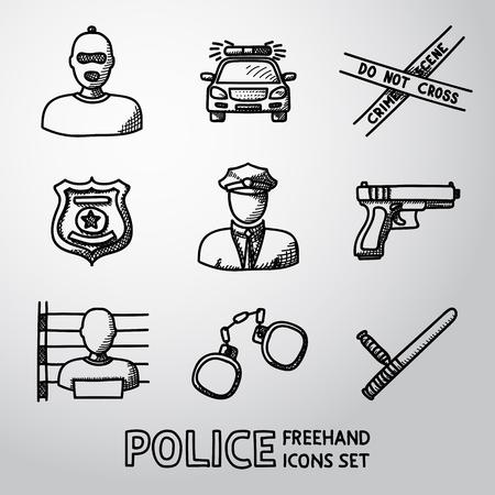 crime scene: Conjunto de iconos de la policía a mano alzada - arma, coche, cinta de la escena del crimen, la insignia, los hombres de la policía, ladrón, ladrón de cárcel, las esposas, club de la policía. Ilustración vectorial