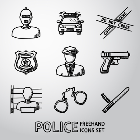tape line: Set of police freehand icons - gun, car, crime scene tape, badge, police men, thief, thief in jail, handcuffs, police club. Vector illustration