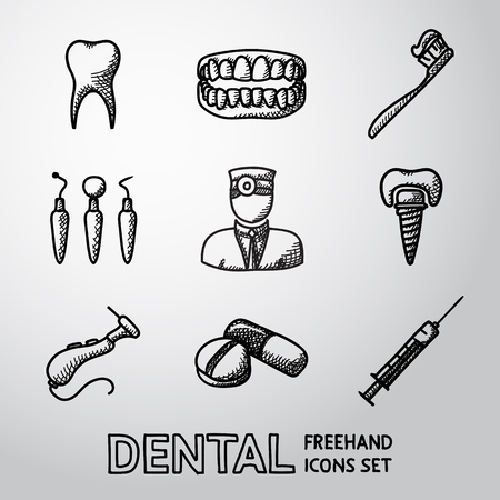 cavity braces: Dental handdrawn icons set with - tooth and jaw, toothbrush and dentist tools, doctor, prosthesis, drill, pills, syringe. vector Illustration