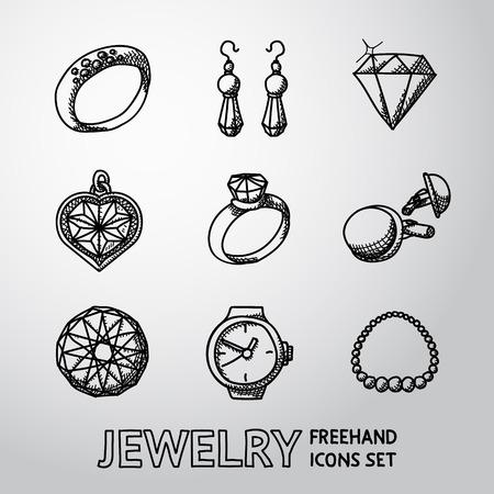 coeur en diamant: Bijoux monochrome à main levée icons set avec - bagues et de diamants, montre, boucles d'oreilles, pendentif, boutons de manchettes, collier. Vector illustration