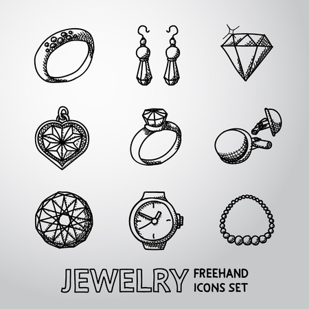 gold ring: Jewelry monochrome freehand icons set with - rings and diamonds, watch, earrings, pendant, cuff links, necklace. Vector illustration