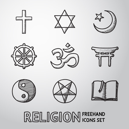 doctrine: World religion hand drawn symbols set with - christian, Jewish, Islam, Buddhism, Hinduism, Taoism, Shinto, pentagram, and book as symbol of doctrine.