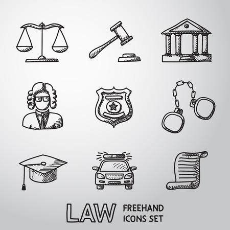 věta: Právo, spravedlnost od ruky ikony set s - měřítek a kladivo, soudní budovy, soudce, policejní odznak, pouta, advokát čepicí, policejní auto, věty dokumentu. vektor