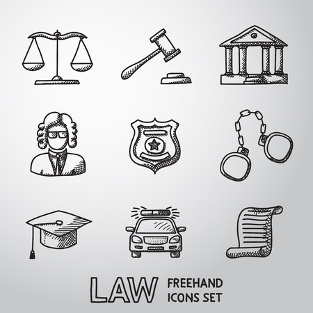 Law, justice freehand icons set with - scales and hammer, court house, judge, police badge, handcuffs, lawyer cap, police car, sentence document. vector