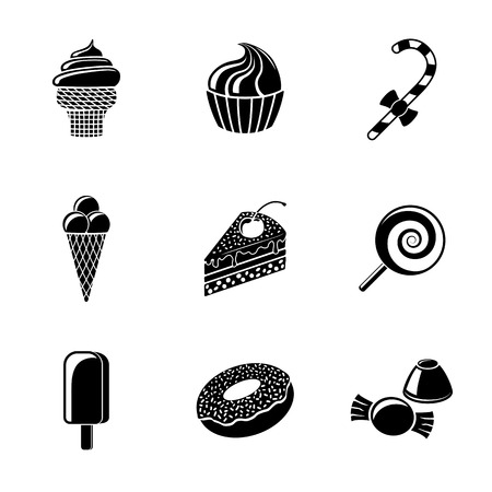 candies: Sweet icons set with - cupcake and donut, cake, ice creams, christmas candy, lollipop, candies. Vector illustration