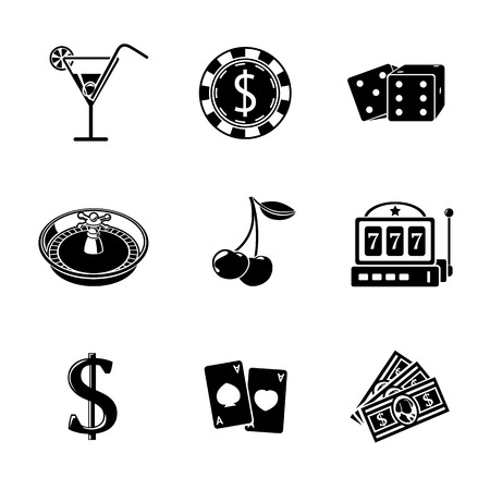 icons set: Casino gambling monochrome icons set with - dice, poker cards, chip, cherry, slot machine, roulette, martini drink, money, dollar sign. vector illustration Illustration